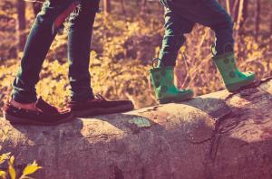 feet on an outdoor walk