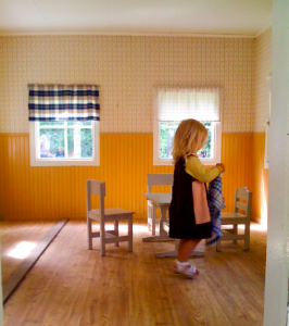 little girl in a clean room