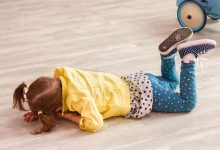 Small girl on the floor throwing a tantrum