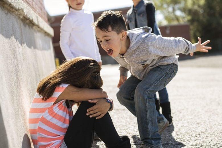 Little boy making fun of a little girl