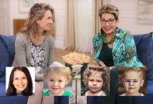 Carol Tuttle and Anne Brown with portraits of 4 children